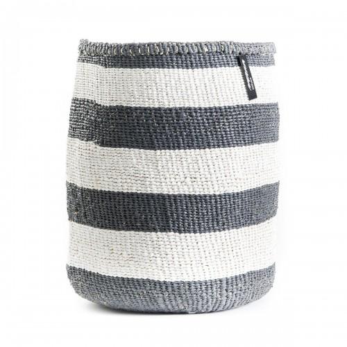 White and grey stripe MIFUKO basket