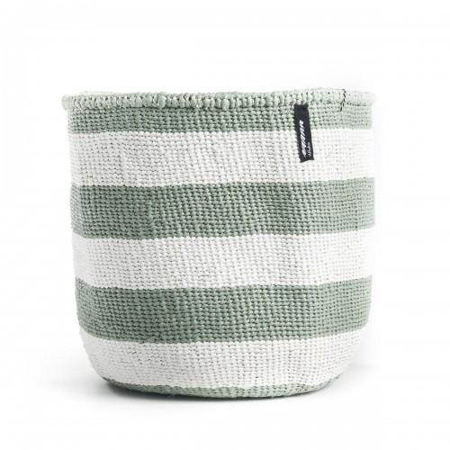 White and green stripe MIFUKO basket