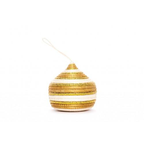 Striped Gold Bulb Ornament