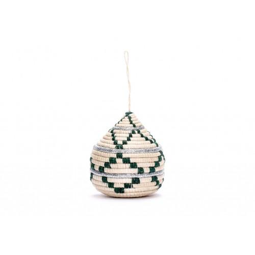 Striped Silver Bulb Ornament