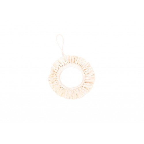 Natural Fringed Hoop Ornament